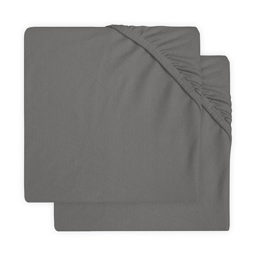 jollein Sábana bajera de jersey 2 paquetes gris tormenta 60x120 cm