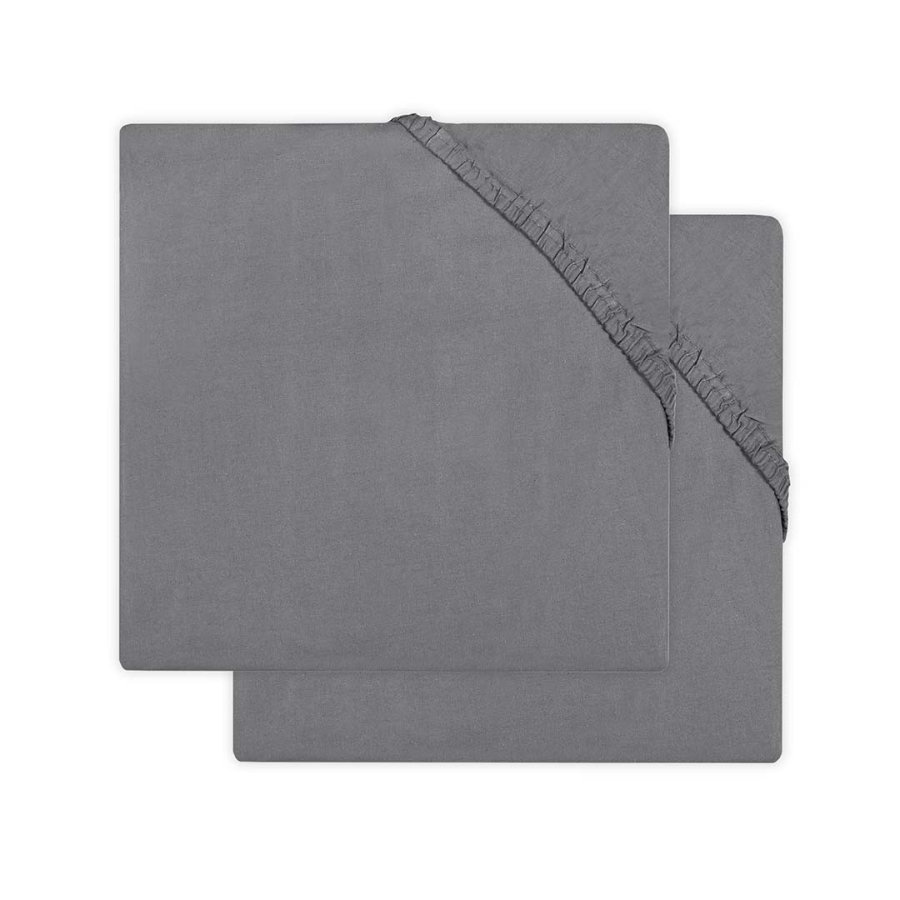 jollein Jersey Laufgitter Spannbettlaken 2er-Pack storm grey 75x95 cm