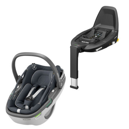 MAXI COSI Babyschale Coral i-Size Essential Graphite mit Basisstation Family Fix 3