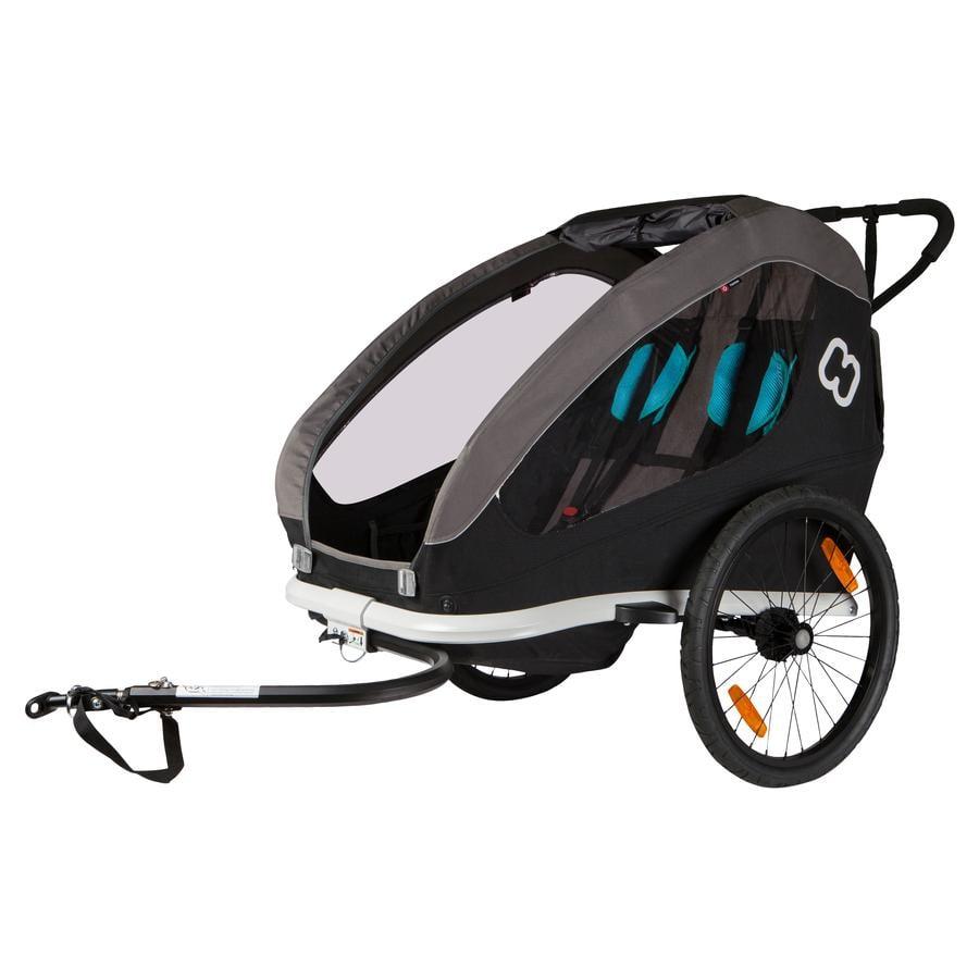 hamax Kinderfahrradanhänger Traveller inklusive Deichsel und Buggyrad Black/Grey/Blue