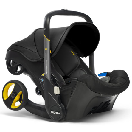 doona Babyschale Nitro Black / schwarz mit voll integriertem Fahrgestell, 2 in 1