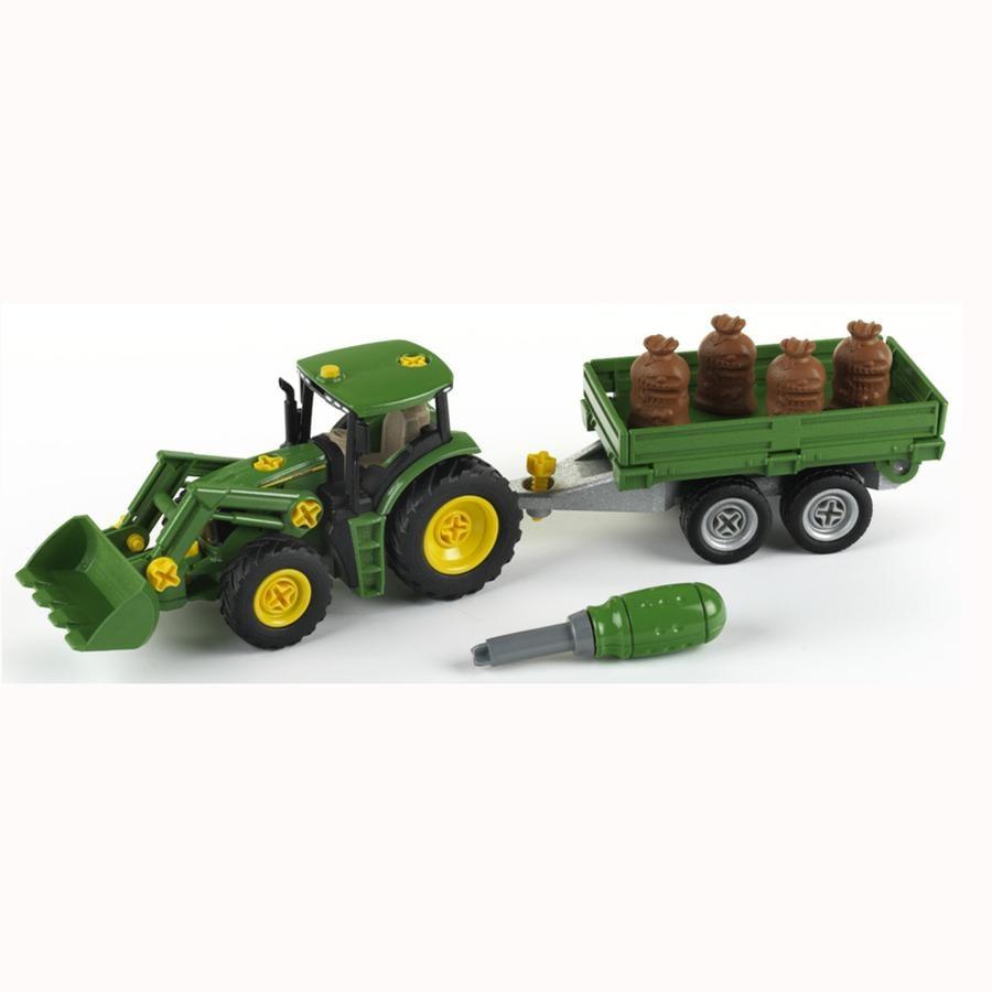 KLEIN John Deere speelgoed tractor + aanhanger