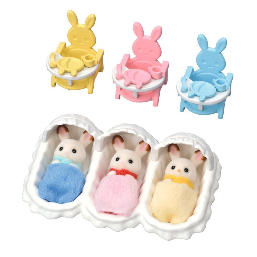 Sylvanian Families® Figurine triplés lapin chocolat accessoires puériculture 5532