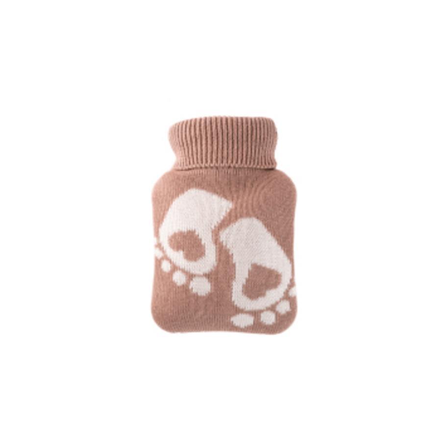 HUGO FROSCH Wärmflasche Mini 0.2 L Strickbezug hellbraun Füße