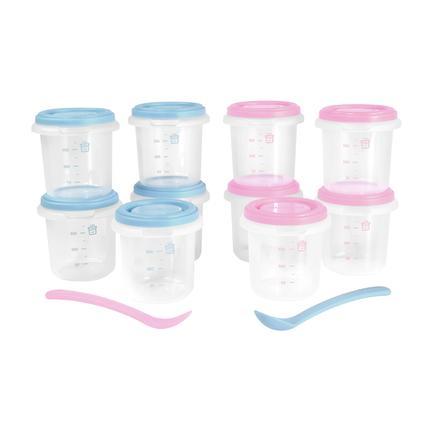 miniland Opbevaringsbeholder sæt 10 hermisiseret lyserød / blå 250 ml
