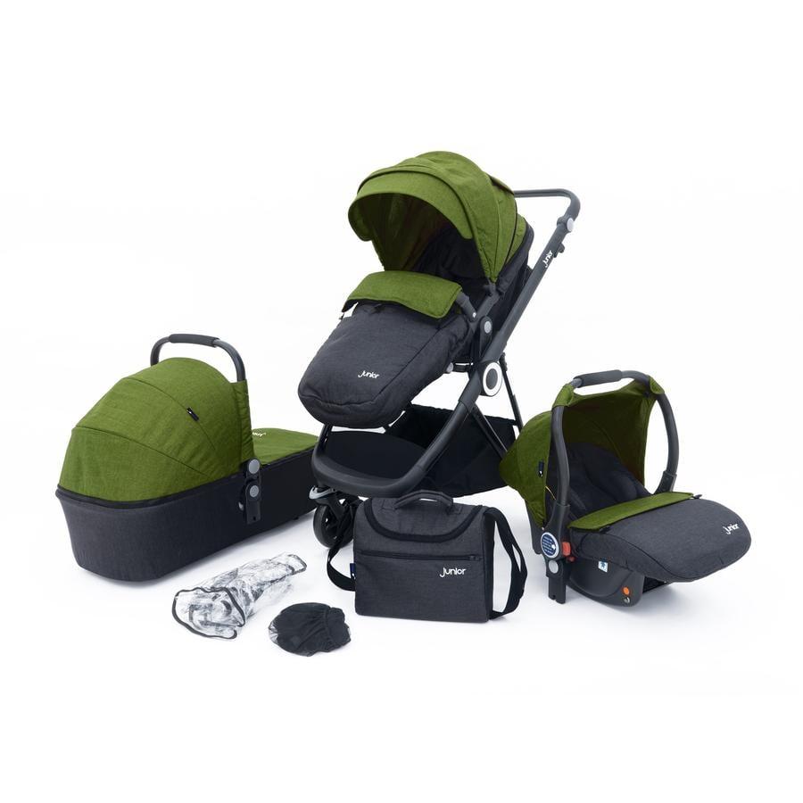 petex Sada kombinovaného kočárku 3 v 1 Multi Traveller zelená/šedá