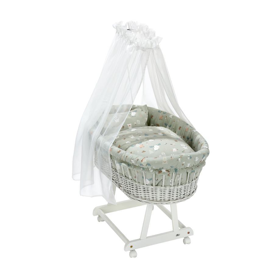 Alvi® Berceau à roulettes complet Birthe bois blanc Baby Forest 63,5x101x79 cm