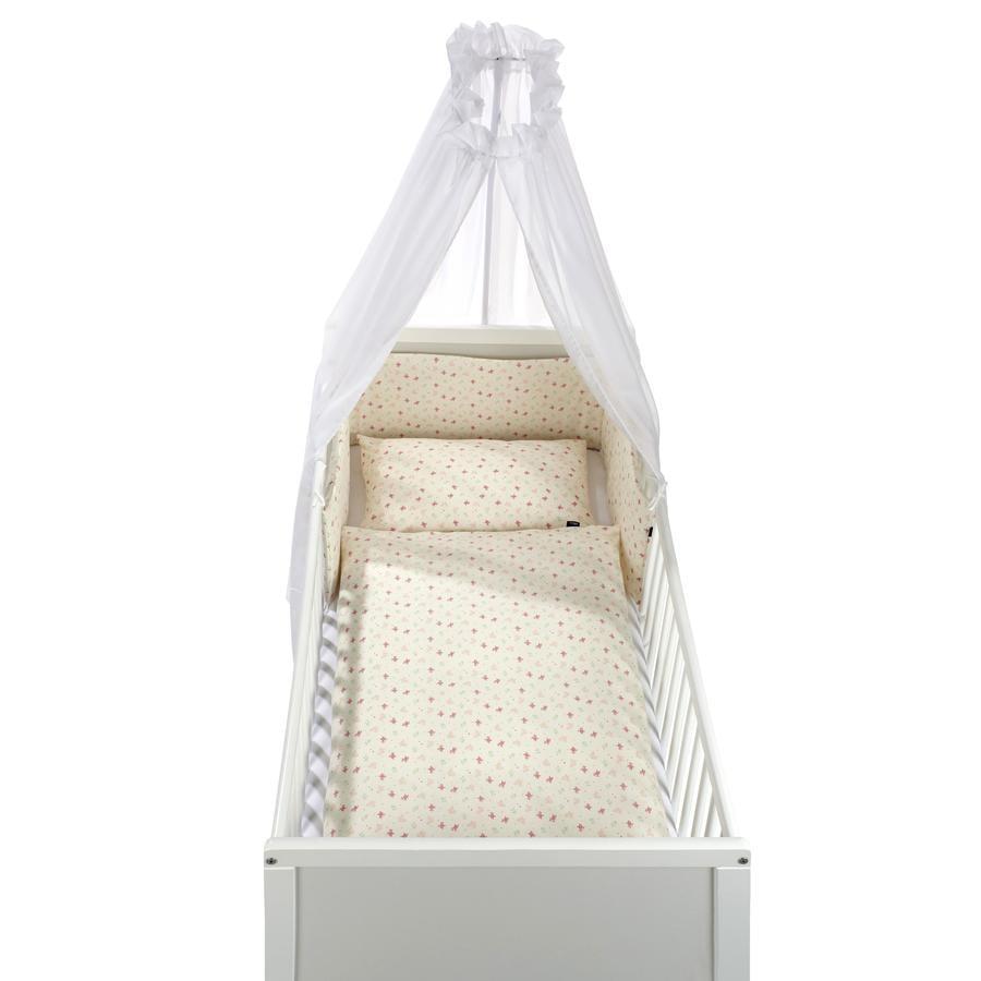 Alvi ® Sängsats 3 delar Ekologisk bomullsrosa trädgård