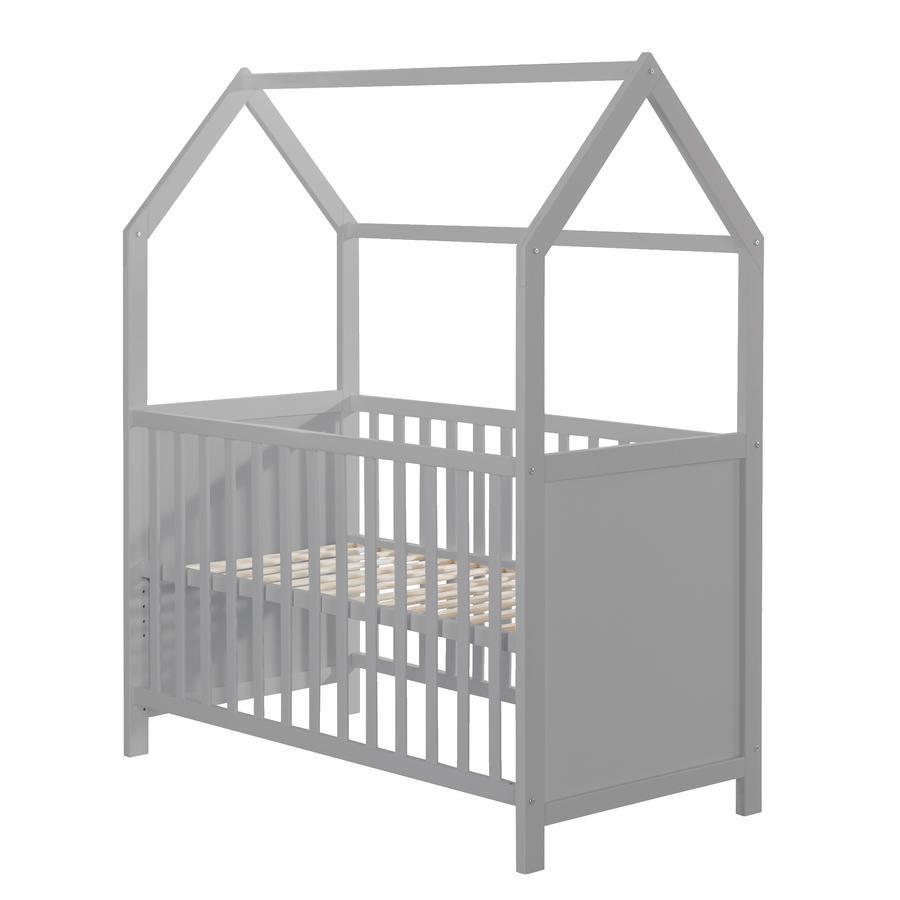 roba Lit à barreaux cabane enfant bois taupe 60x120 cm