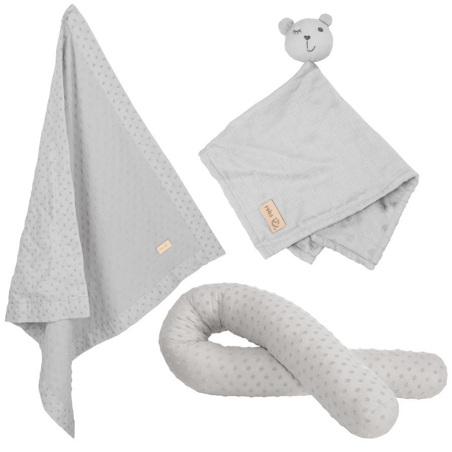 roba Coffret cadeau plaid enfant doudou tour de lit traversin Jersey bio Lil Planet gris