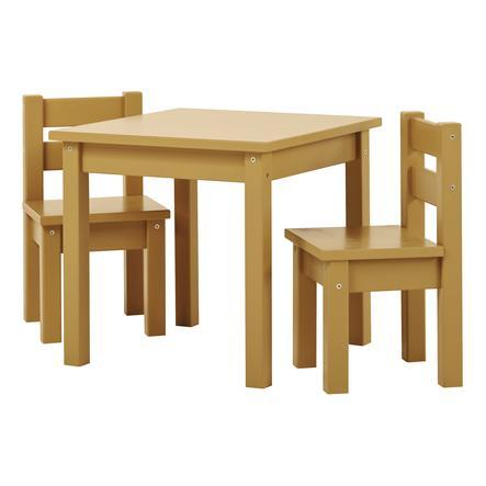 Hoppekids Ensemble table chaises enfant Mads bois Autumn Yellow