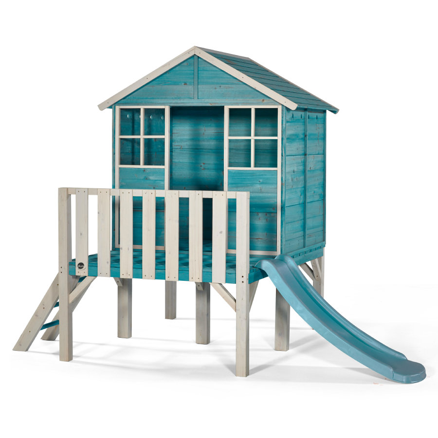 plum® Maison cabane de jardin enfant et toboggan Boat-House pilotis bois
