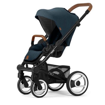 mutsy Kinderwagen Nio Rahmen Black Cognac inklusive Sitz und Verdeck Adventure Ocean Blue