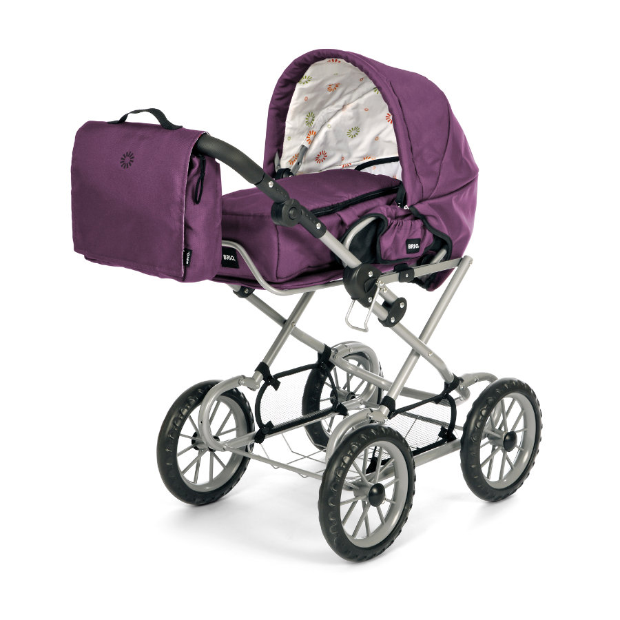 BRIO Doll's Pram Combi Purple, including Diaper Bag