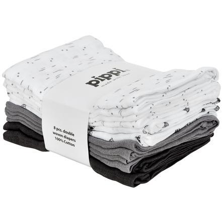 Pippi Musselindetørklæder 8-pakke sleet