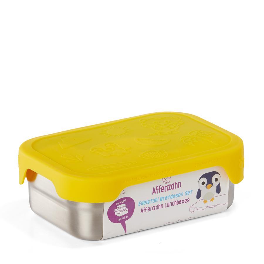 Affenzahn Boîte à goûter enfant tigre inox, jaune lot de 2