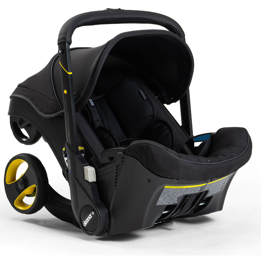 doona Babyschale Midnight Edition Schwarz mit voll integriertem Fahrgestell, 2 in 1
