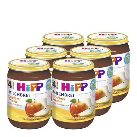 HiPP Bio Milchbrei Grießbrei Früchte 6 x 190 g