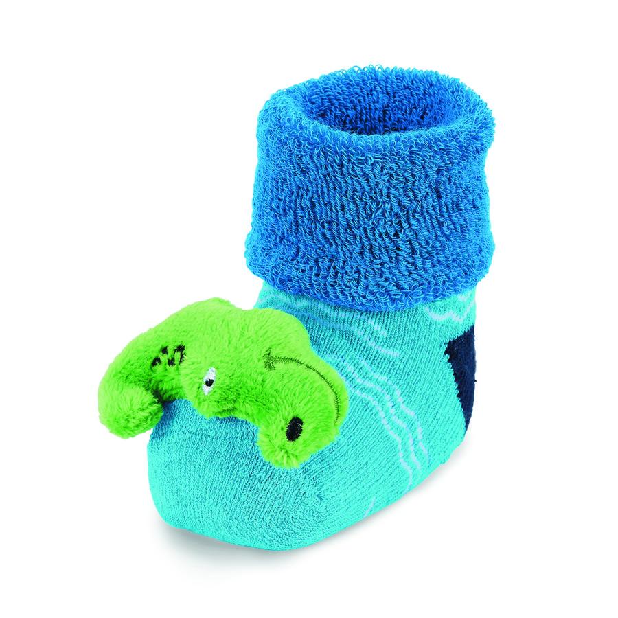 Sterntaler Baby-Rasselsöckchen Krokodil blau