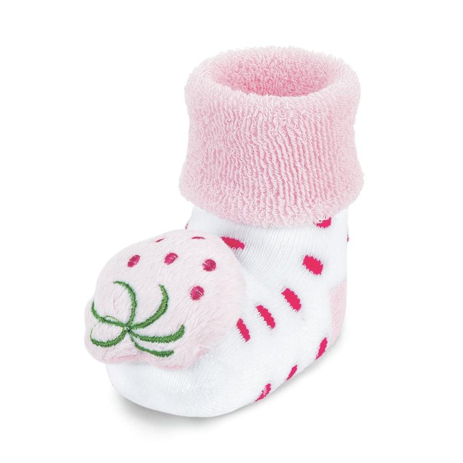 Sterntaler Baby-Rasselsöckchen Erdbeere weiß