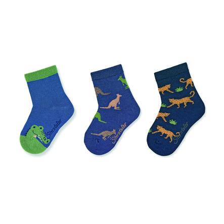 Sterntaler Chaussettes pour bébés paquet de 3 animaux de zoo bleu