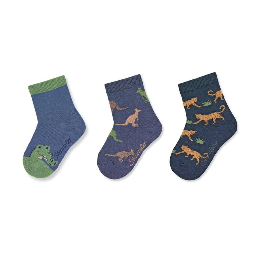 Sterntaler Babysokken 3-pack dierentuindieren blauw