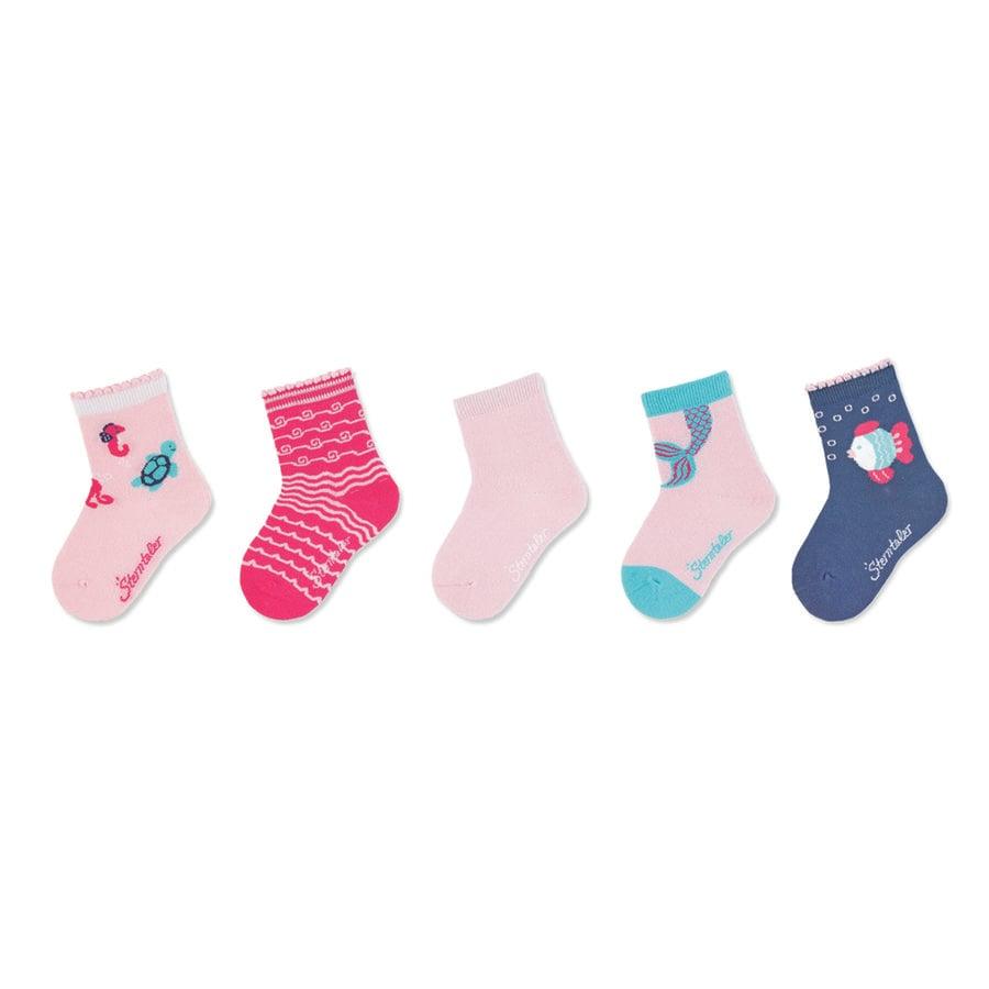 Sterntaler Paquet de 5 chaussettes roses pour bébé