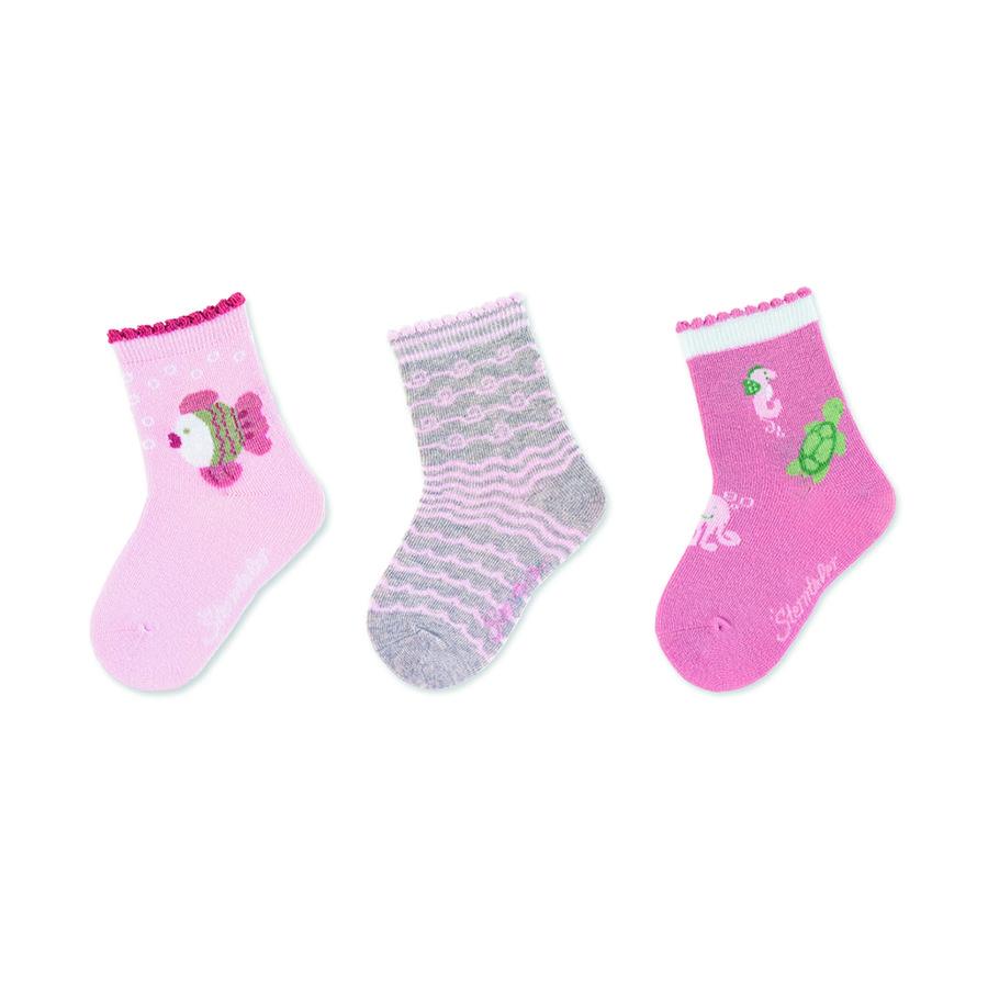 Sterntaler Calcetines de bebé paquete de 3 peces rosa