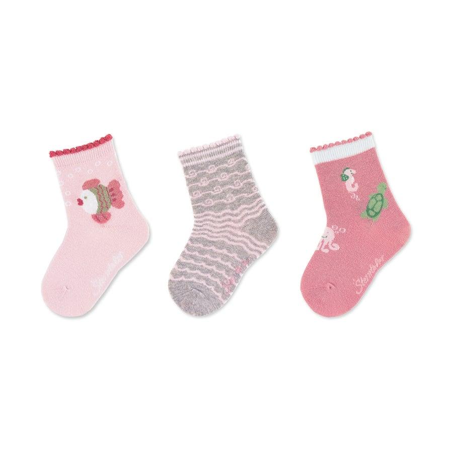 Sterntaler Chaussettes pour bébé, paquet de 3, rose poisson