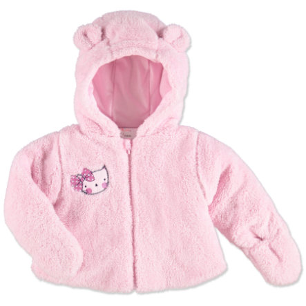 pink or blue Girls Plush Jacket with Hood Kitty rose