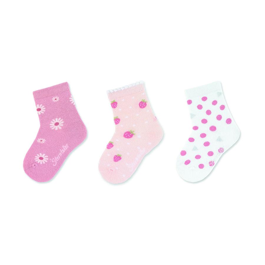 Sterntaler Baby-Söckchen 3er-Pack Erdbeeren rosa