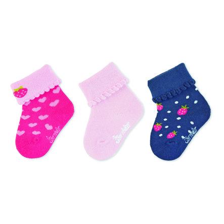 Sterntaler Chaussettes pour bébé, paquet de 3, rose fraise