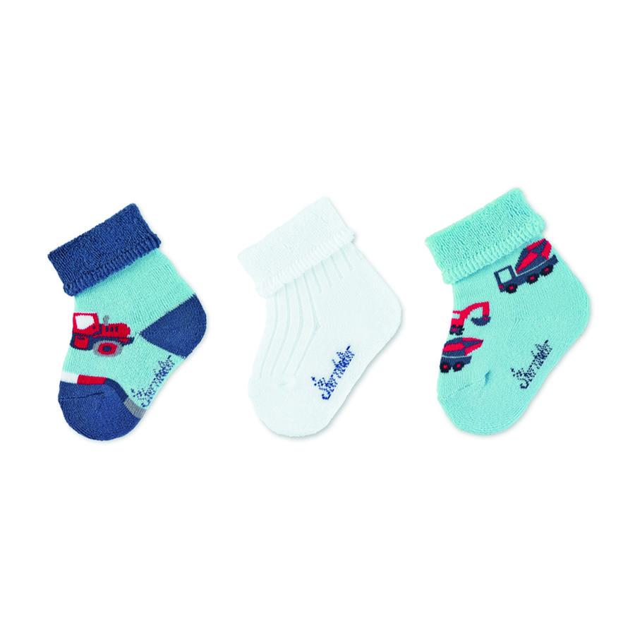 Sterntaler dětské ponožky 3-pack stavební vozidla nebe