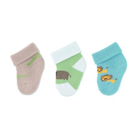 Sterntaler eerste sokjes 3-pack dierentuindieren medium groen