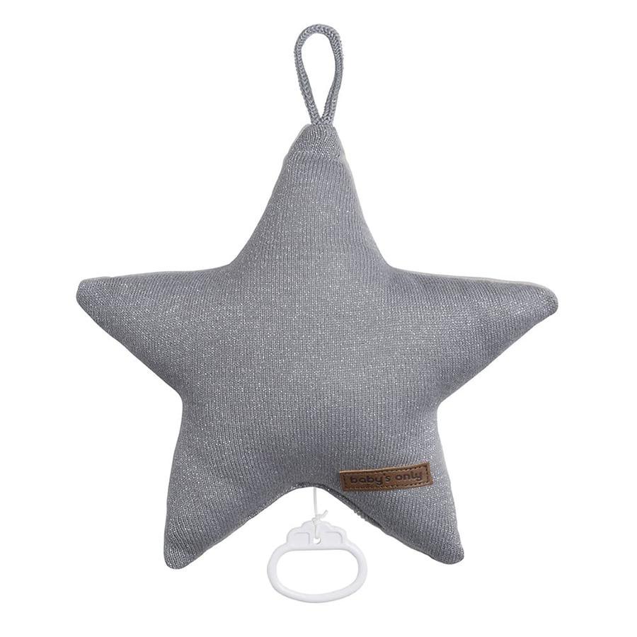 baby's only Muziekklok Star Sparkle zilver-grijs melee