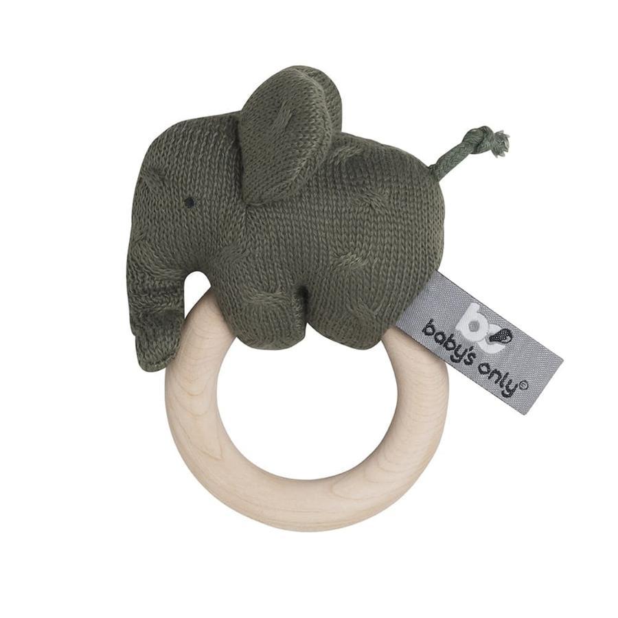 baby's only Holz Rassel Elefant khaki
