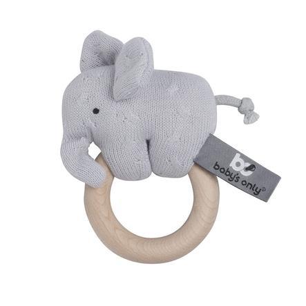 baby's only Hochet en bois éléphant gris argenté
