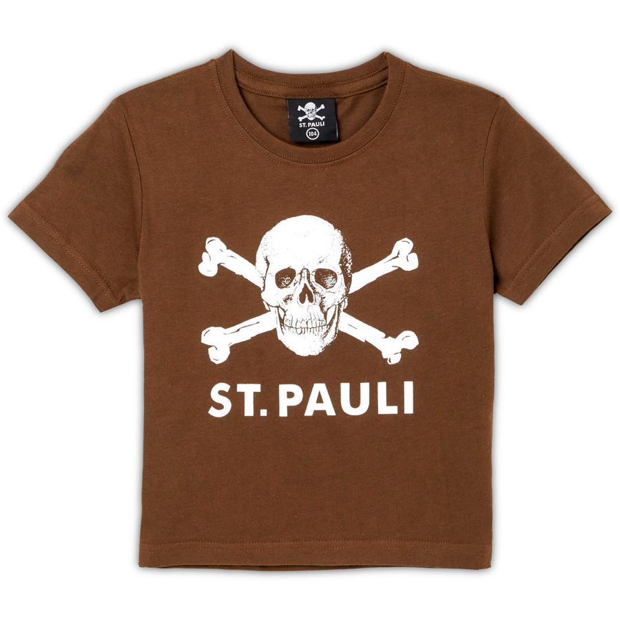 St. Pauli Kinder T-Shirt Totenkopf braun