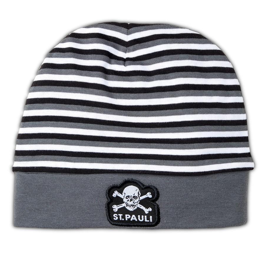 St. Pauli Baby Mütze  grau gestreift