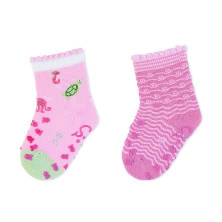 Sterntaler ABS kruipsokken dubbel pak zeedieren roze