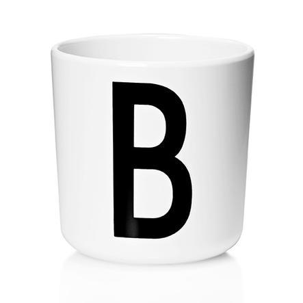 Design letters Melaminbecher mit Arne Jacobsen Vinatge ABC weiß letter schwarz Buchstabe B