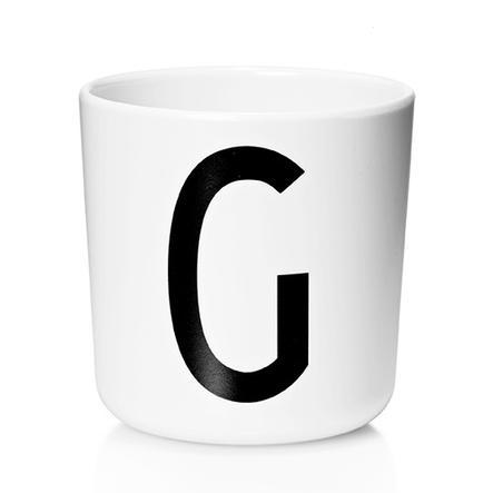 Design letters Verre enfant alphabet Vintage Arne Jacobsen mélamine blanc lettre G noir