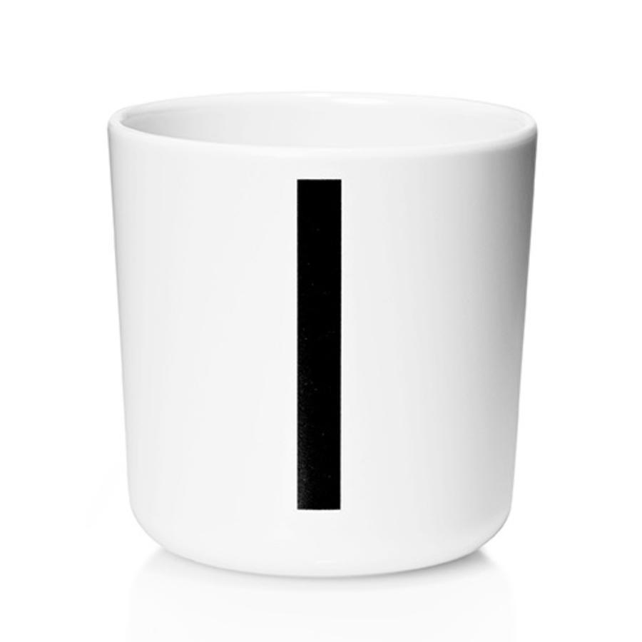Design letters Melaminbecher mit Arne Jacobsen Vinatge ABC weiß letter schwarz Buchstabe I