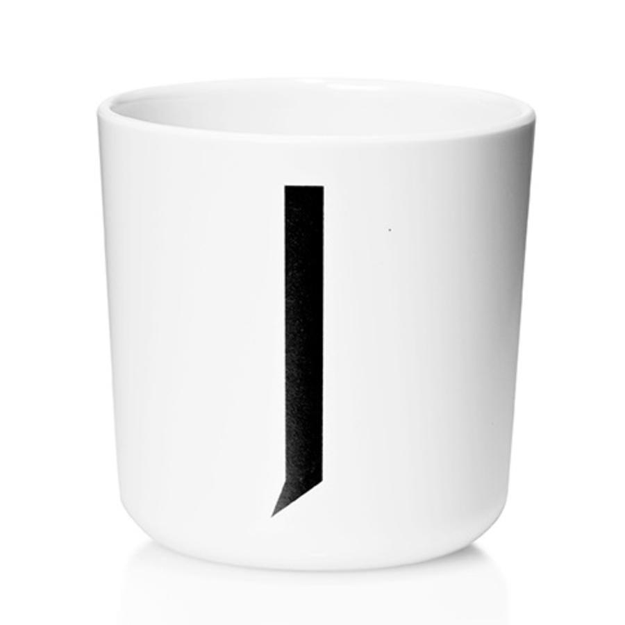 Design letters Melaminbecher mit Arne Jacobsen Vinatge ABC weiß letter schwarz Buchstabe J
