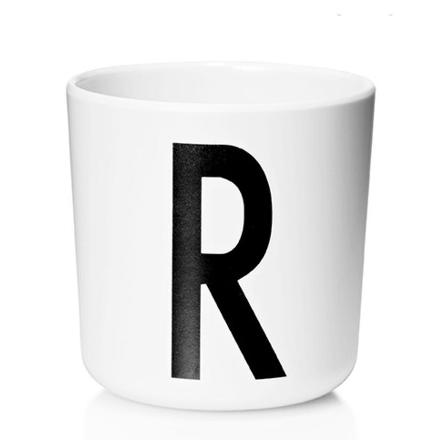 Design letters Melaminowy kubek z Arne Jacobsen Vinatge ABC biała litera czarna litera