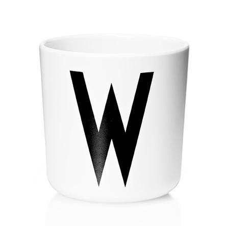 Design letters Melaminbecher mit Arne Jacobsen Vinatge ABC weiß letter schwarz Buchstabe W