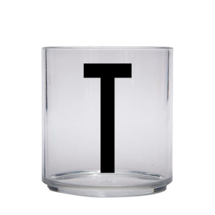 Design letters personalisiertes Trinkglas für Kinder Buchstabe T