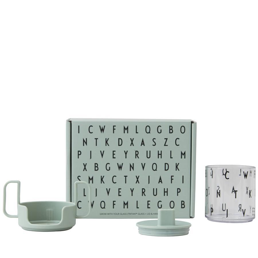 Design letters Coffret cadeau vaisselle enfant Grow with you Glass alphabet vert