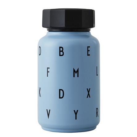 Design letters Termisk flaska med halm 330 ml i blått