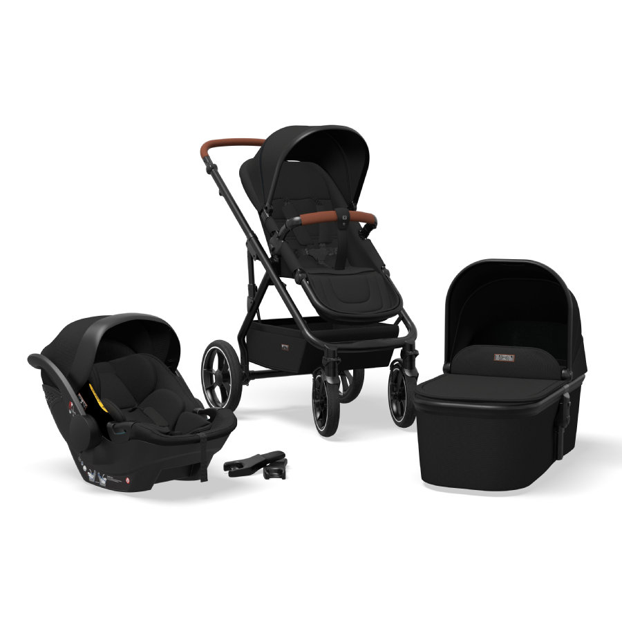 MOON Kombikinderwagen Nuova Set 3 in 1 Black/Black Kollektion 2021